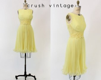 60s Jack Bryan Dress Small / 1960s Vintage Yellow Lace Cocktail Dress / Lemon Meringue Dress