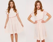 Vintage 70s White & Red SECRETARY Dress Petite BIB Front Midi Dress Hipster Dress