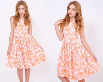 Vintage 50s PASTEL Floral Sundress Fit and Flare SWING Dress ROCKABILLY Day Dress Pin Up Dress