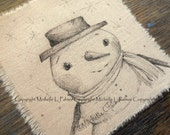Original Pen Ink on Fabric Illustration Quilt Label by Michelle Palmer Father Snowman Winter Snow Friend