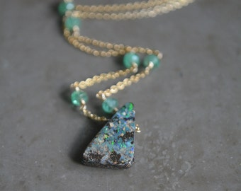 Boulder Opal Necklace with Emerald October Birthstone