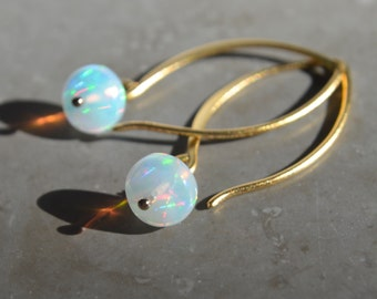Ethiopian Opal Earrings Gold October Birthstone