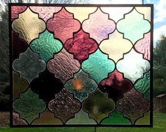 "Arabian Nights stained glass panel transom window 18 .5"" x 16.25"""