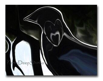 Raven's Heart Photograph Altered Abstract Fine Art 8x10 black bird heart original modern wall decor small format art under 30