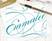 personalized stationery set - FANCY CALLIGRAPHY NAME - set of 8 folded cards - choose color - personalized stationary set