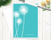 personalized stationery set - DANDELION - set of 8 folded note cards - personalized stationary set folded cards - choose color