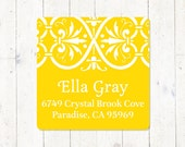 personalized return address LABEL - ELEGANT ELLA - sticker - square label - set of 48 labels