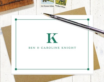 personalized note card stationery set - PROFESSIONAL MONOGRAM - set of 8 folded cards -monogrammed stationary