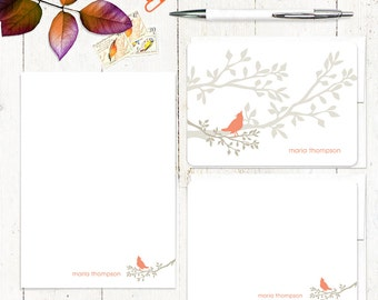 complete personalized stationery set - BIRD ON BRANCH - personalized stationary set - note cards - notepad - choose colors