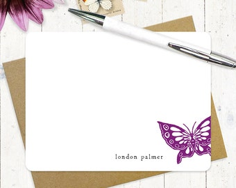 personalized stationery set flat note cards - BUTTERFLY - set of 12 - stationary - nature