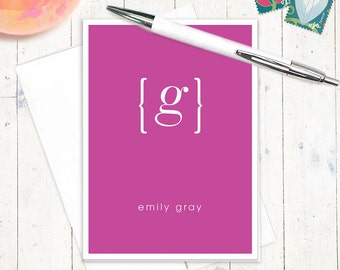 personalized stationery set note cards - your NAME your INITIAL MONOGRAM - set of 8 folded cards - personalized stationary