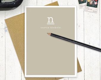 personalized stationery set - JUST my TYPE MONOGRAM - set of 8 folded note cards - stationary set