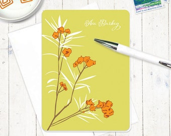 personalized stationery set - AWESOME AZALEA - set of 8 folded note cards - stationary - flowers - botanical