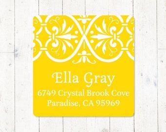 personalized return address LABEL - ELEGANT ELLA - sticker - square label - set of 48 labels