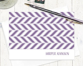 personalized stationery set note cards - HERRINGBONE CHEVRON - set of 8 folded note cards - personalized stationary - choose color