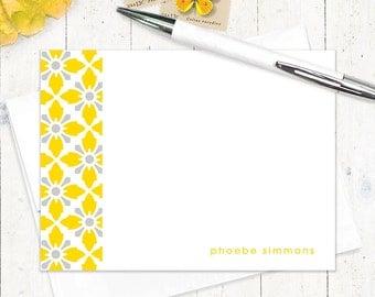 personalized stationery set - VINTAGE MODERN WALLPAPER - set of 12 - personalized stationary flat note cards - choose color