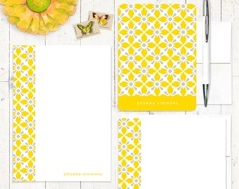 complete personalized stationery set - VINTAGE MODERN WALLPAPER - personalized stationary - note cards - notepad - choose colors
