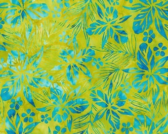Fabric Kaufman Totally Tropical Batik flowers leaves turquoise on lime green 15500-257 CARIBBEAN summer time