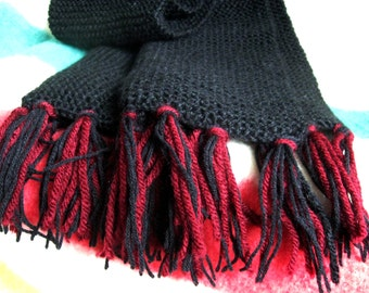 HAND-KNITTED SCARF – 40in x 9in Black with Burgundy, Plain Knit