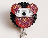 Nurse Minnie Mouse Iridescent Red Glittery Silhouette ID Badge Reel - RN ID Badge Holder - Zipperedheart