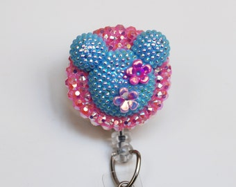 Minnie Mouse Shimmery Summer Blue Silhouette ID Badge Reel - Retractable ID Badge Holder - Zipperedheart