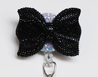Black Glittery Bow ID Badge Reel - ID Badge Holder - Badge Clip - Zipperedheart