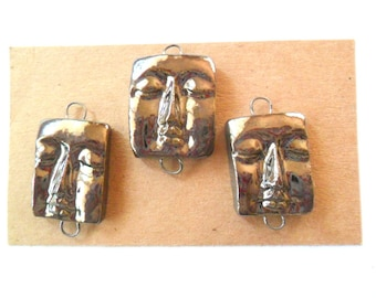 Metallic Glazed Kiln Fired Face Charms or Link Findings