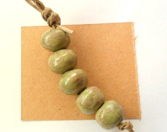 Desert Grass Stoneware Square Kiln Fired Beads, Set of 5