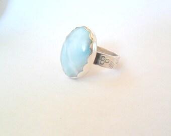 Sea Blue Larimar Sterling Silver Artisan Ring, Size 7.5