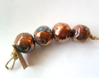 15-16mm Round Raku Fired Clay Beads - Set of 4