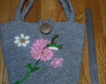 Felted and Needle felted Art bag /pocketbook