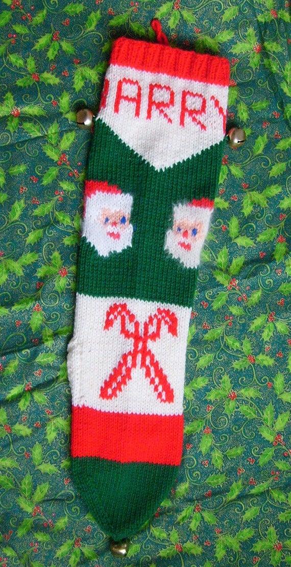 1950's Vintage Knitted Santa Christmas Stocking Pattern ...