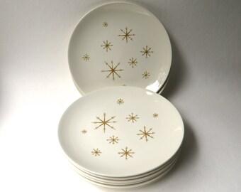 Mid Century vintage Star Glow Dinner Plates / Set of 8 / Royal China Ironstone / Atomic Starburst Pattern