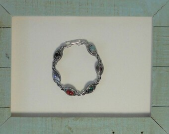 SARAH COVENTRY Silver tone  with Multi-Colored Rhinestones and Cabochons Bracelet.