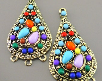 Colorful Boho Teardrop Gypsy Chandelier Earring Findings Long Teardrop Pendants in Antique Gold