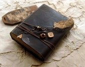 Afterthoughts - Rustic Leather Journal, Dark Brown, Vintage Lace, Over 300 Tea-Stained Pages, OOAK