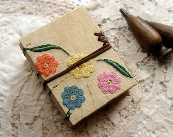 Spring - Vintage Embroidered Linen Journal, Over 330 Tea Stained Pages, OOAK