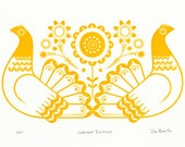 Sebright Bantams in Golden Yellow - Hand Pulled, Signed, Gocco Screenprint