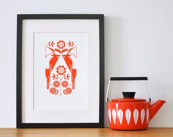Woodpeckers in folky orange - Open Edition Giclee Print