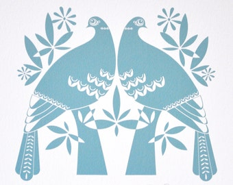 Winter Doves in soft blue - Open Edition Giclee Print