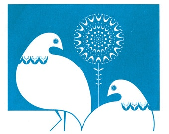 Winter Ptarmigan in Mid Blue - Hand Pulled, Signed, Gocco Screenprint