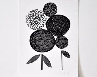 A3 Pom Pom Dahlias - Open Edition Giclee Print