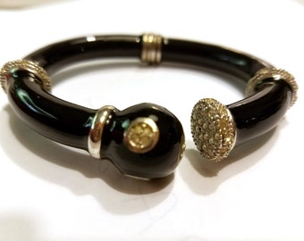 Black Enamel Clamper Bracelet with Rhinestone Accents Bangle