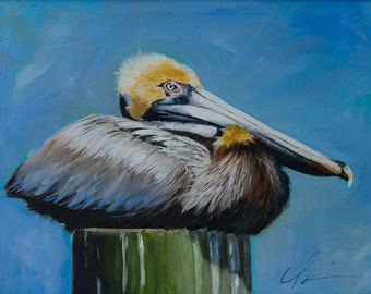 Large Brown, Yellow Pelican, Water Bird, On a Green Post, Pylon, Dock, Fishing, Blue Green Background  - Original Painting by Clair Hartmann