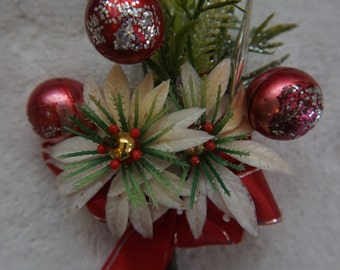 Vintage Christmas Corsage White  Poinsettia Red Ribbon Silver Ornament
