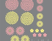 Flowers wall decal set - set of 18 flower wall stickers - baby girl wall decals - spring flower decal - flower nursery - extra flowers