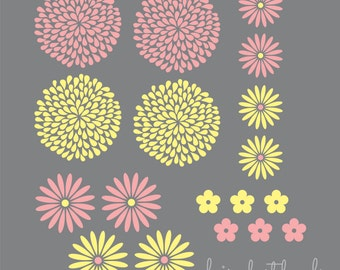 Flowers wall decal set - set of 18 flower wall stickers - baby girl vinyl wall decal - spring flower decal - flower nursery - extra flowers