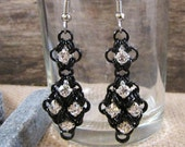 Double Diamond Earrings in Black and Crystal