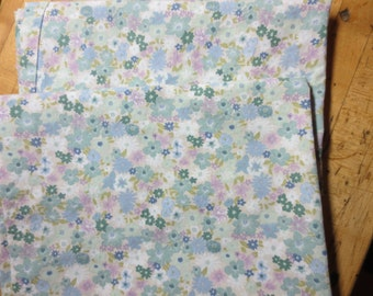 Vintage Pair of Floral Pillowcases blue green lavender Shabby Chic Cottage handmade