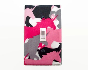 Unicorn Light Switch Cover - Pink Grey Unicorns Switch Plate Cover - Girls Pink Bedroom Switchplate - Girls Room Decor - Girls Unicorn Room